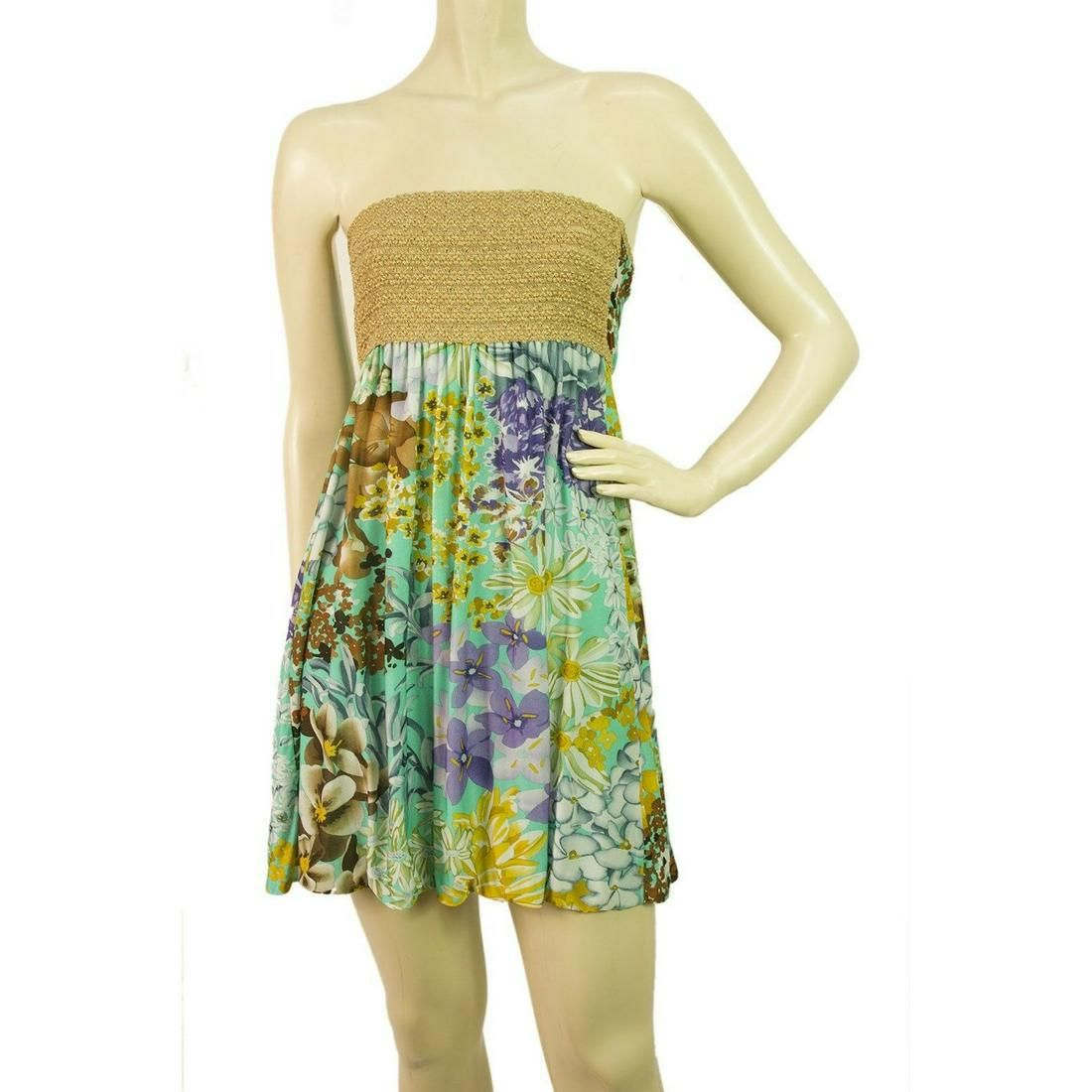 Missoni Gold Metallic knitted Strapless Floral fabric
