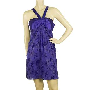 Tibi Silk Floral Daisies Jacquard Purple Y Neck