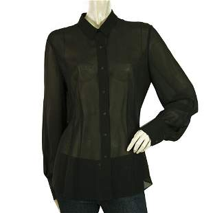 Theory Black SIlk Sheer Long Sleeves Button Down Shirt