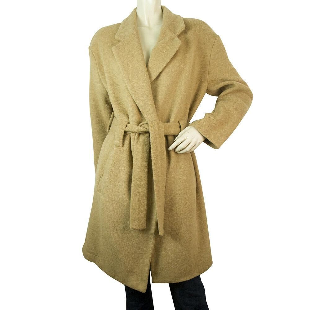 Georgia P Beige Open Front Unlined Belted Knee Length