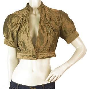 Nicole Miller Gold Bronze Cropped Cardigan Bolero Puff