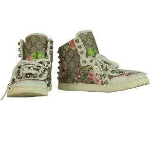 Gucci GG Blooms Studded Canvas High - Top Trainers