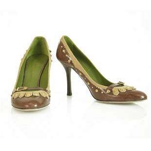 Dsquared 2 Croco Embossed Brown Leather Studs Moccasin