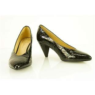Clarks Black Croco Embossed Patent Leather Pointed Toe