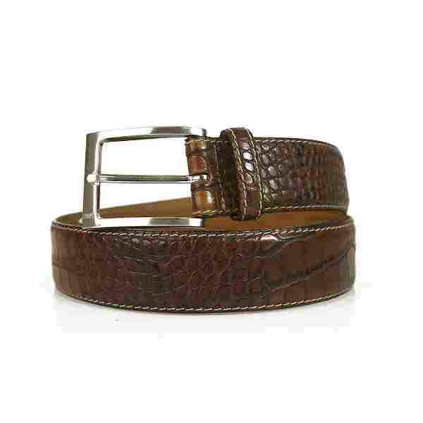 JOOP! Brown Croco Embossed Men's Leather Belt w. Silver