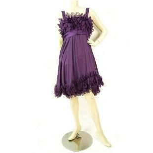 Elie Saab New Purple Silk Ruffled Knee Length Cocktail