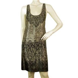 Juicy Couture Khaki Black Abstract Sleeveless 100% Silk