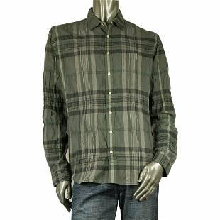 Burberry London Gray Plaid Check Shirt Long Sleeve Men'