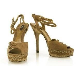 Bally Beige Suede & Snakeskin Ilya Platform Heels