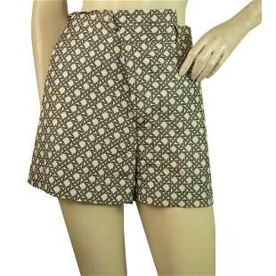 "Paul Smith ""Blue"" Cream & Gray Silk Shorts Bermuda"