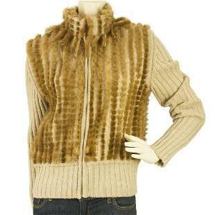 Angelo Marani Beige Wool Vison Fur Long Sleeve Turtle