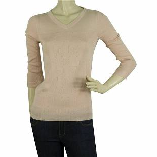 Jil Sander Pink Cashmere Silk Perforated Top Sweater