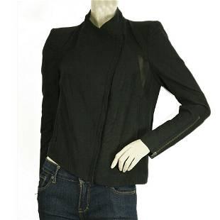Helmut Lang Black Paneled Asymmetrical Zipper Front &