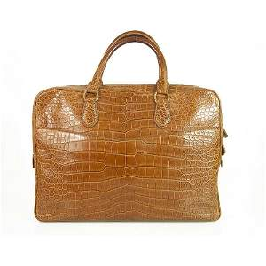 ALFRED DUNHILL BROWN CROCODILE LEATHER BRIEFCASE BAG