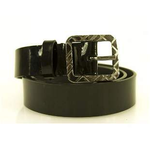Burberry Women's Black Patent Leather Square Buckle