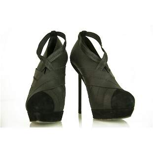 Yves Saint Laurent YSL black elasticated fabric & suede
