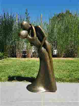 Sculpture, the kiss - Patinated bronze