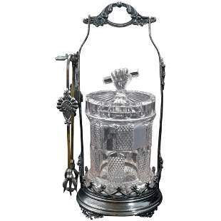 Victorian Pickle Caster Silverplate w/ EAPG Jar