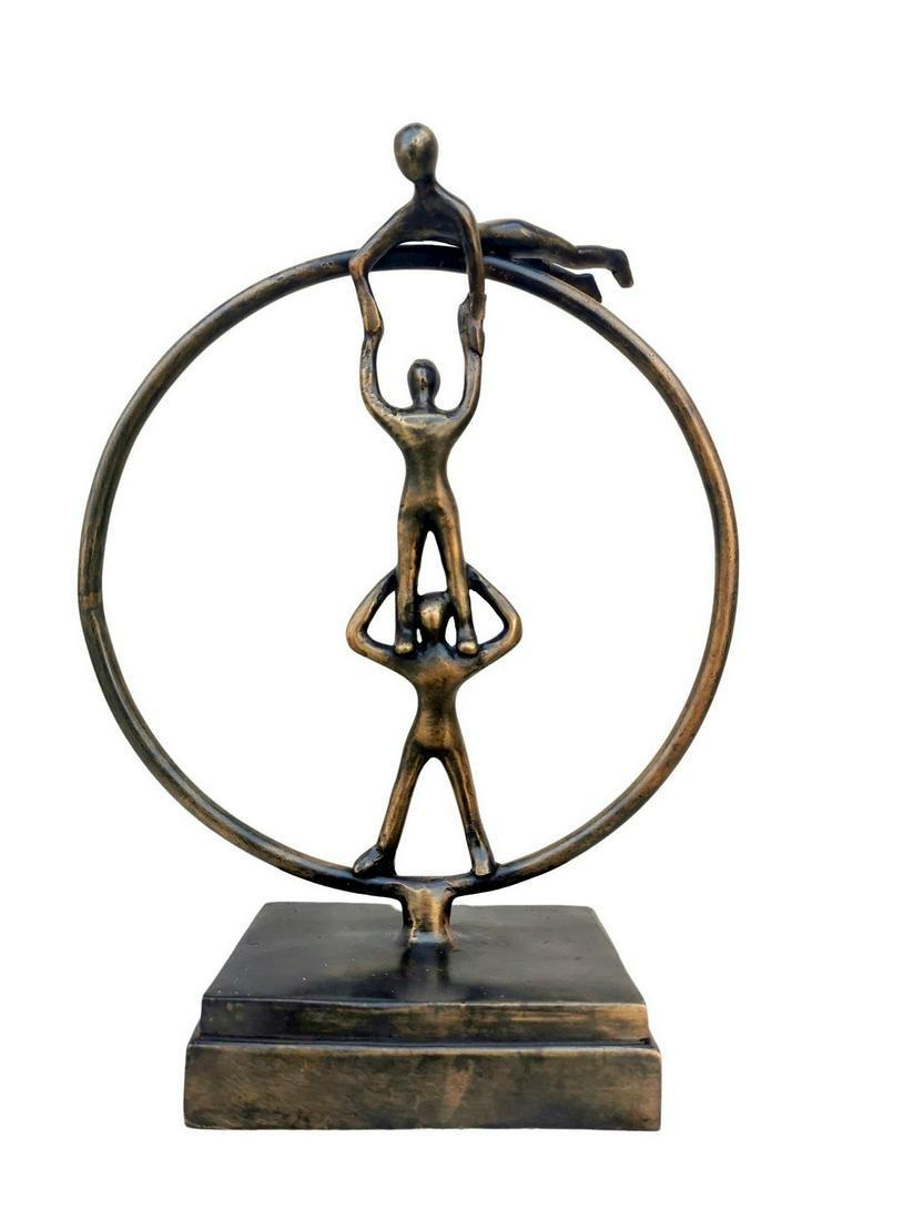 Bronze sculpture of 3 acrobats in a circle - Bronze