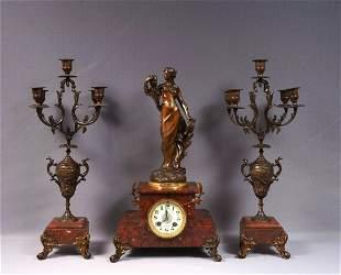 Antique French Le Creusot Marble Mantel Clock