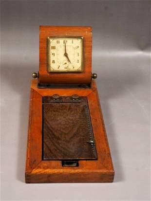 New Haven Tele-List Telephone Desk Wood Clock WORKS