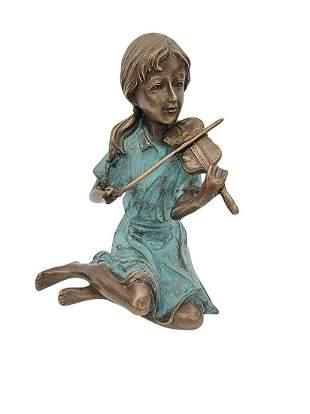 Bronze figure - Girl playing the violin - Bronze gift