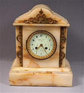 Antique French VINCENTI&CIE White Marble Mantel Clock