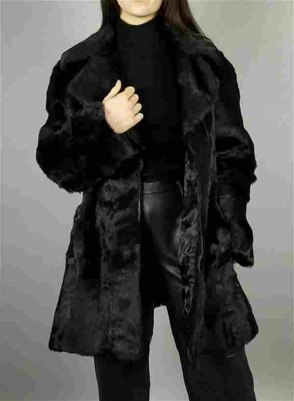 Black Goat Fur Coat