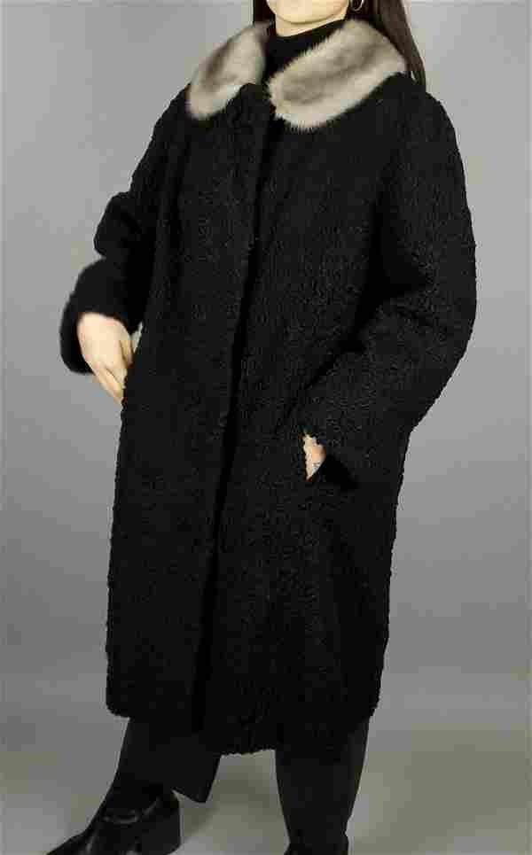 Black Curly Persian Lamb Blonde Mink Coat