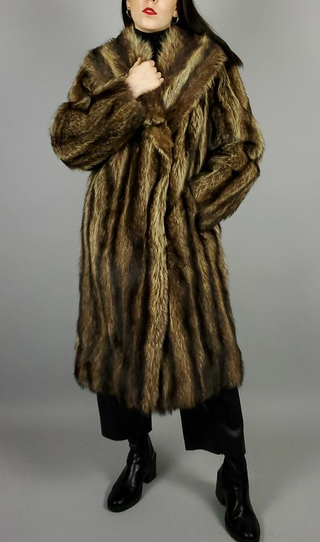 Brown Raccon Fur Coat
