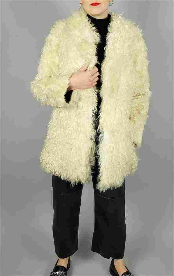 White Angora Sheep Fur Jacket