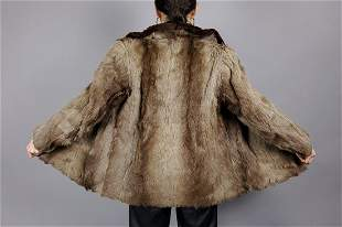 Brown Beige Goat Fur Jacket