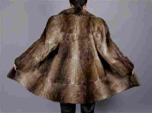 Brown Muskrat Fur Coat