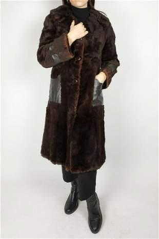Sheared Brown Lapin Fur Coat