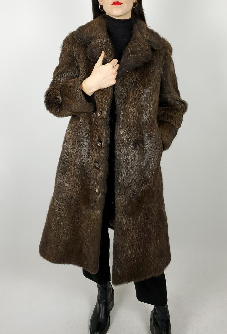 Brown Nutria Fur Coat