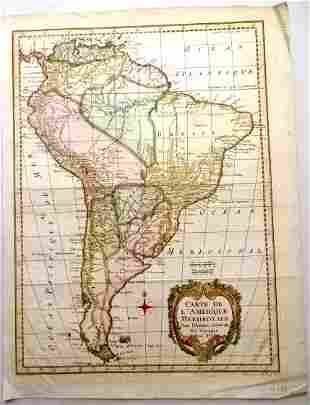 c1758 Hand Colored Map of South America
