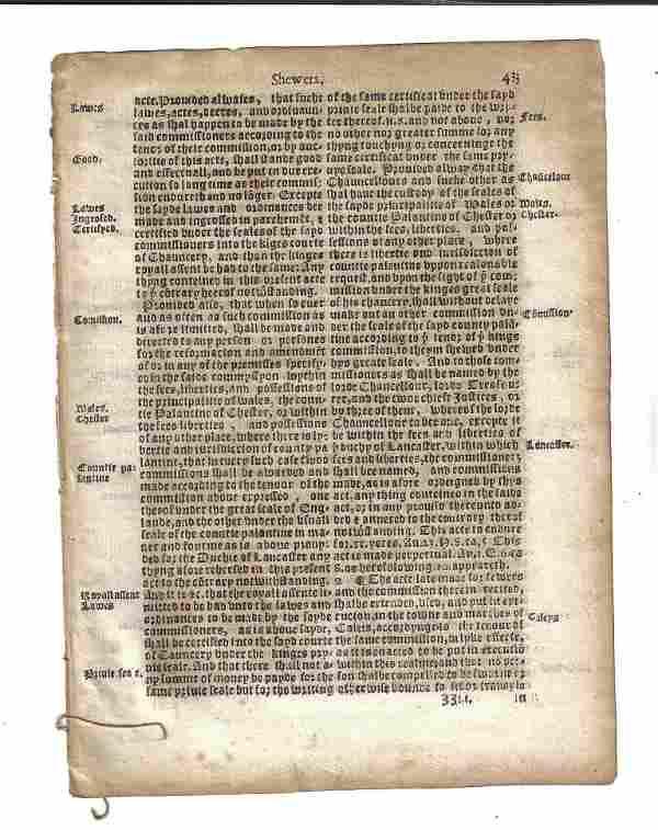 1559 Elizabethan English Law Leaf
