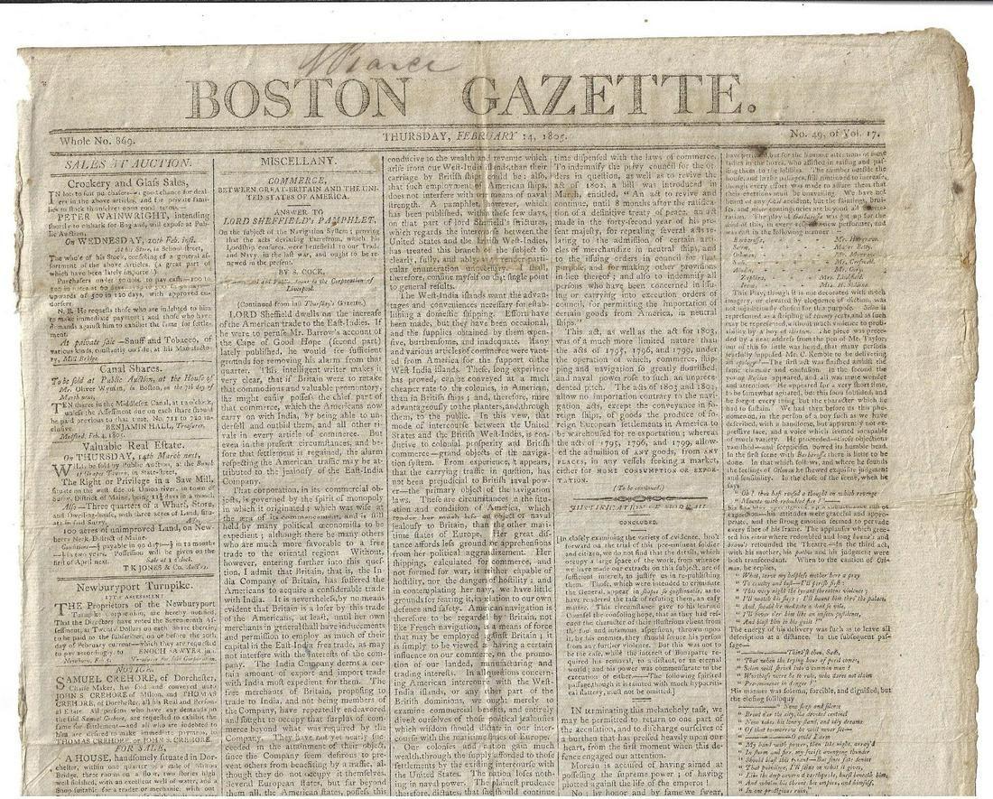05 Newspaper American Trade Napolean Poem