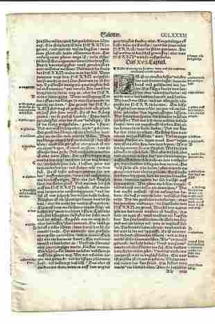 1534 German Bible Leaf Woodcut Initials Qentels Koln