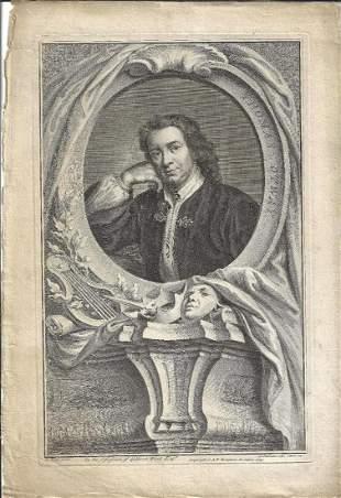 1742 Houbraken Engraving Thomas Otway Theater
