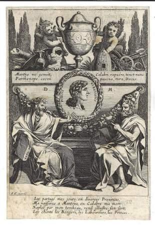 17th C Fine Engraving Homer Hesiod