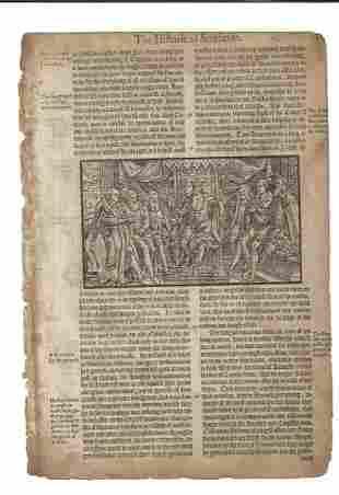 1577 Leaf Holinshed Woodcut of King at Court