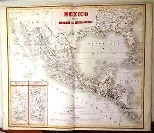 c1870 Colored Map Mexico Central America