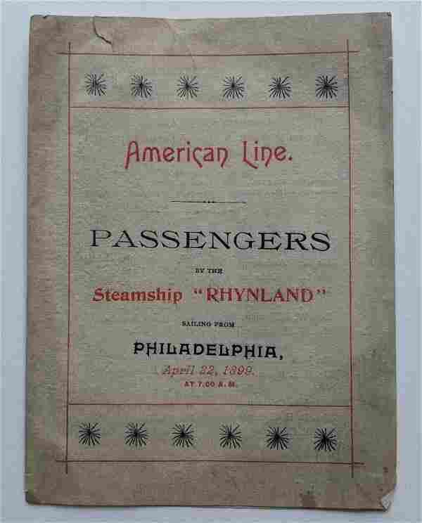 1899 STEAMSHIP RHYNLAND PASSENGER LIST AMERICAN LINE