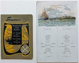 NORTH GERMAN LLOYD BREMEN SOUVENIR CARD & MENU 1904