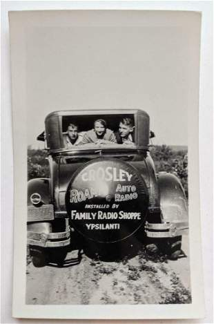 c 1930 s snapshot AUTO w ADVERTISEMENT for INSTALL of
