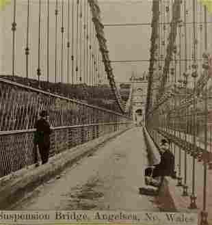 ca. 1880 s SUSPENSION BRIDGE ANGELSEA NORTH WALES