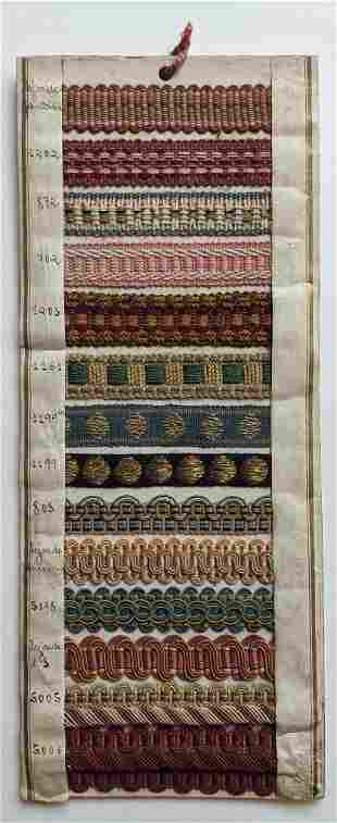 ANTIQUE SAMPLE BOARD BRAIDED TRIM for SEWING, INK
