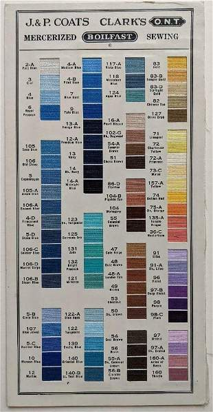 VINTAGE SAMPLE BOARD w SEWING THREAD COLOR s J & P
