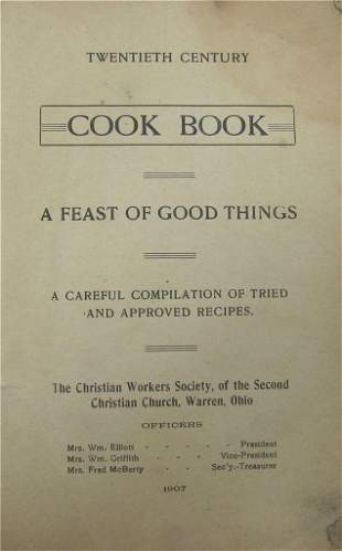 1907 RECIPE COOK BOOK, FEAST OF GOOD THINGS, CHIRISTIAN